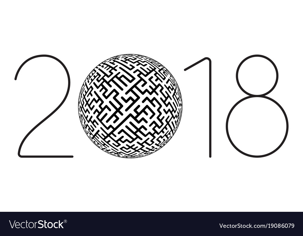 Maze 2018 lettering vector image