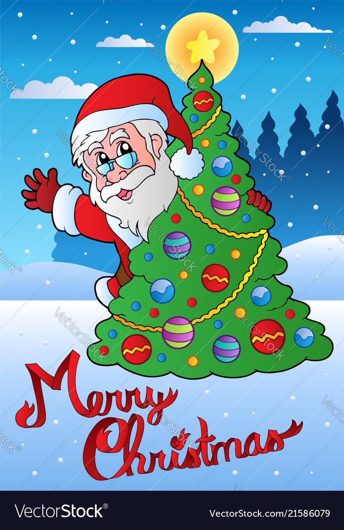 Merry christmas card with santa 1 Royalty Free Vector Image