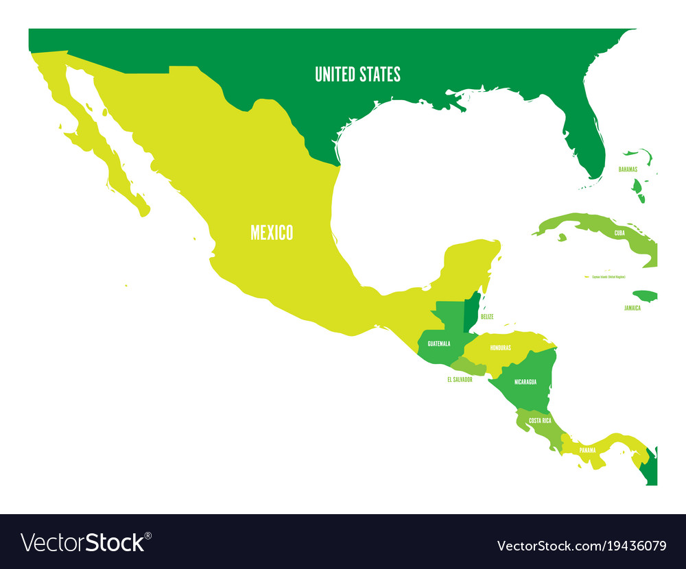 Political map of central america and mexico in
