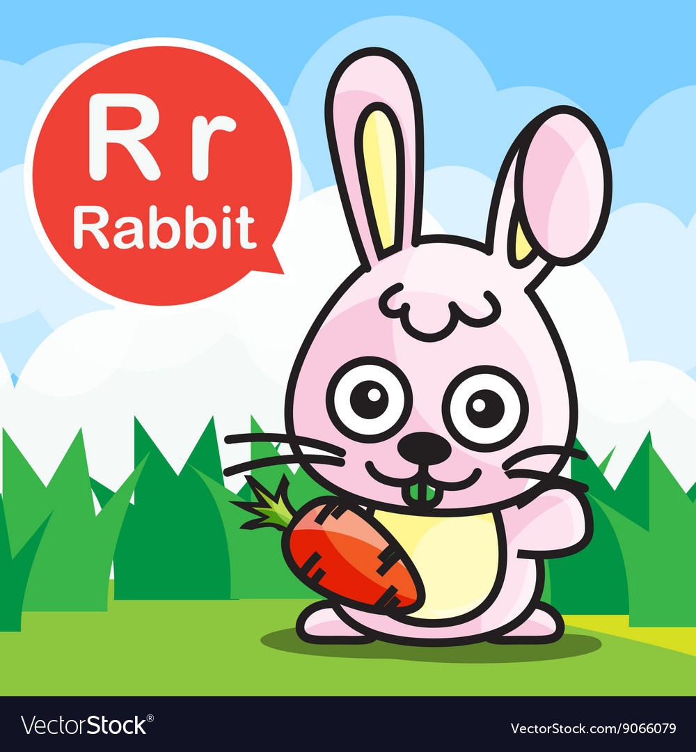 R Rabbit color cartoon and alphabet for children