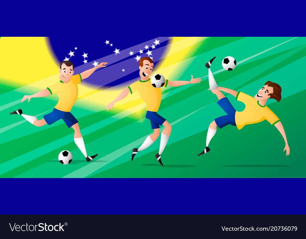 Team brazil football soccer players set