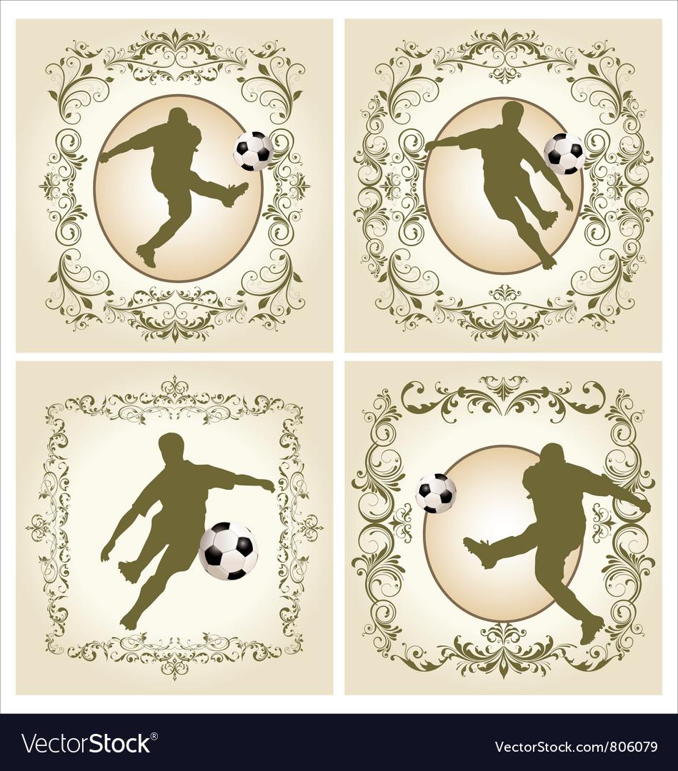 Vintage frame - soccer Royalty Free Vector Image