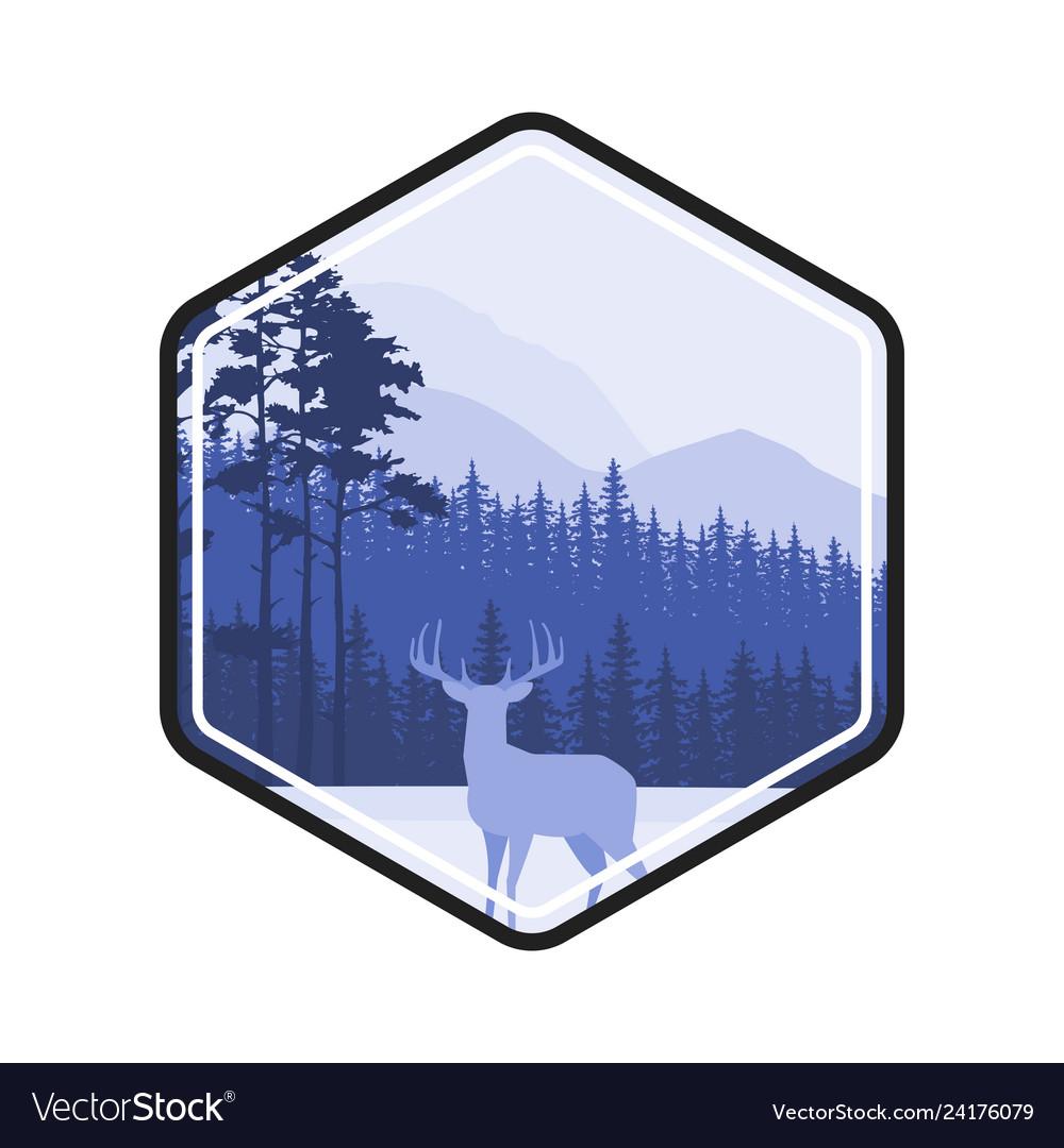 Winter forest deer label pine landscape mountains