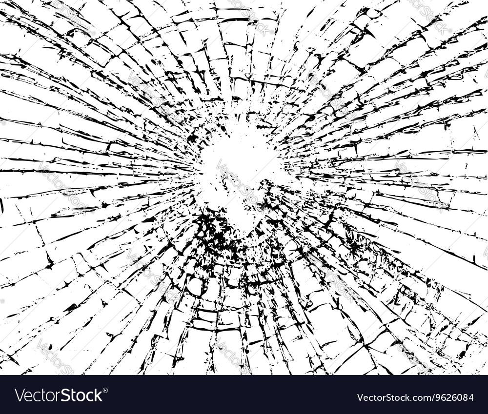 Broken glass grunge texture white black Royalty Free Vector
