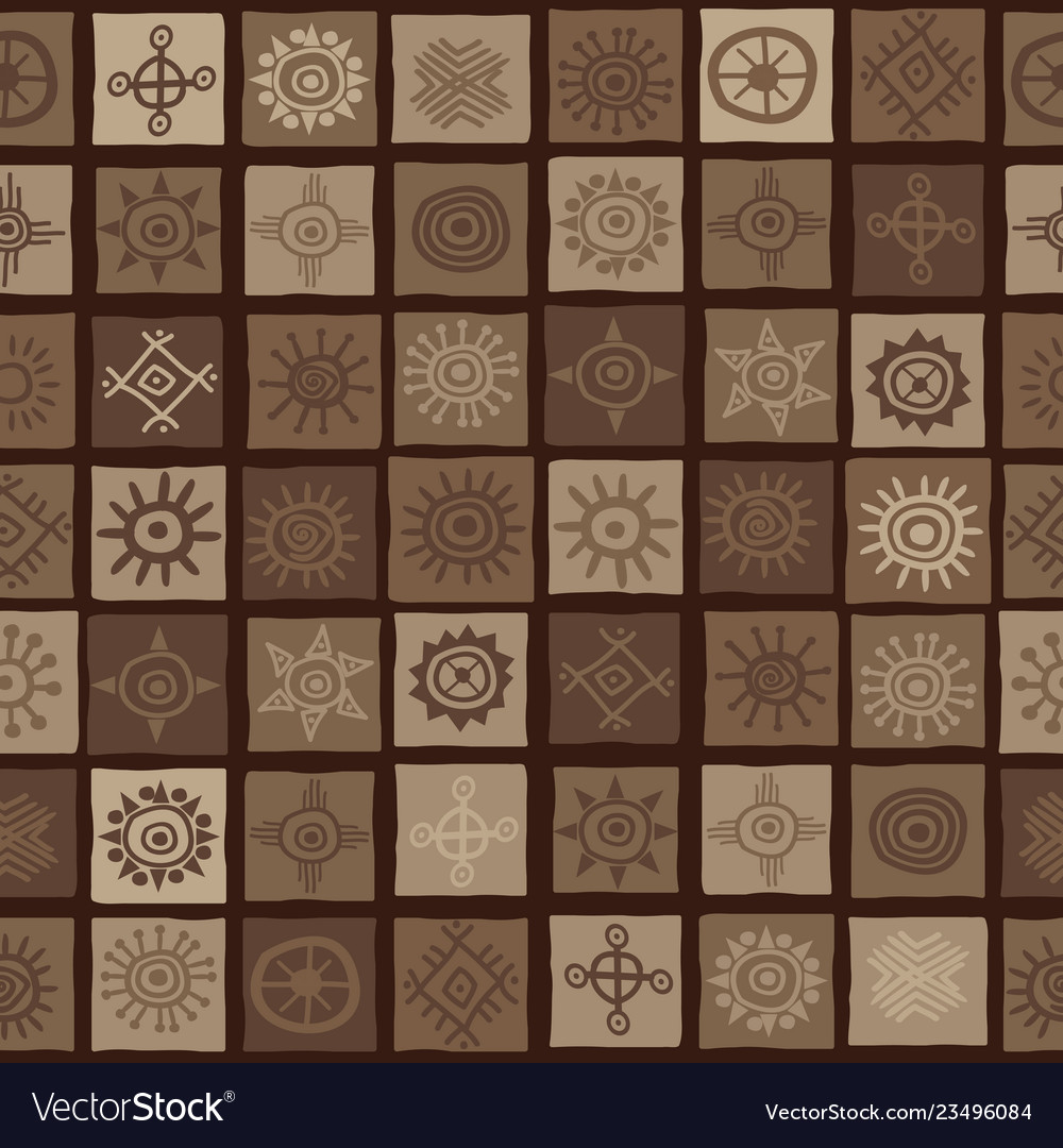 Brown african background with sun symbols