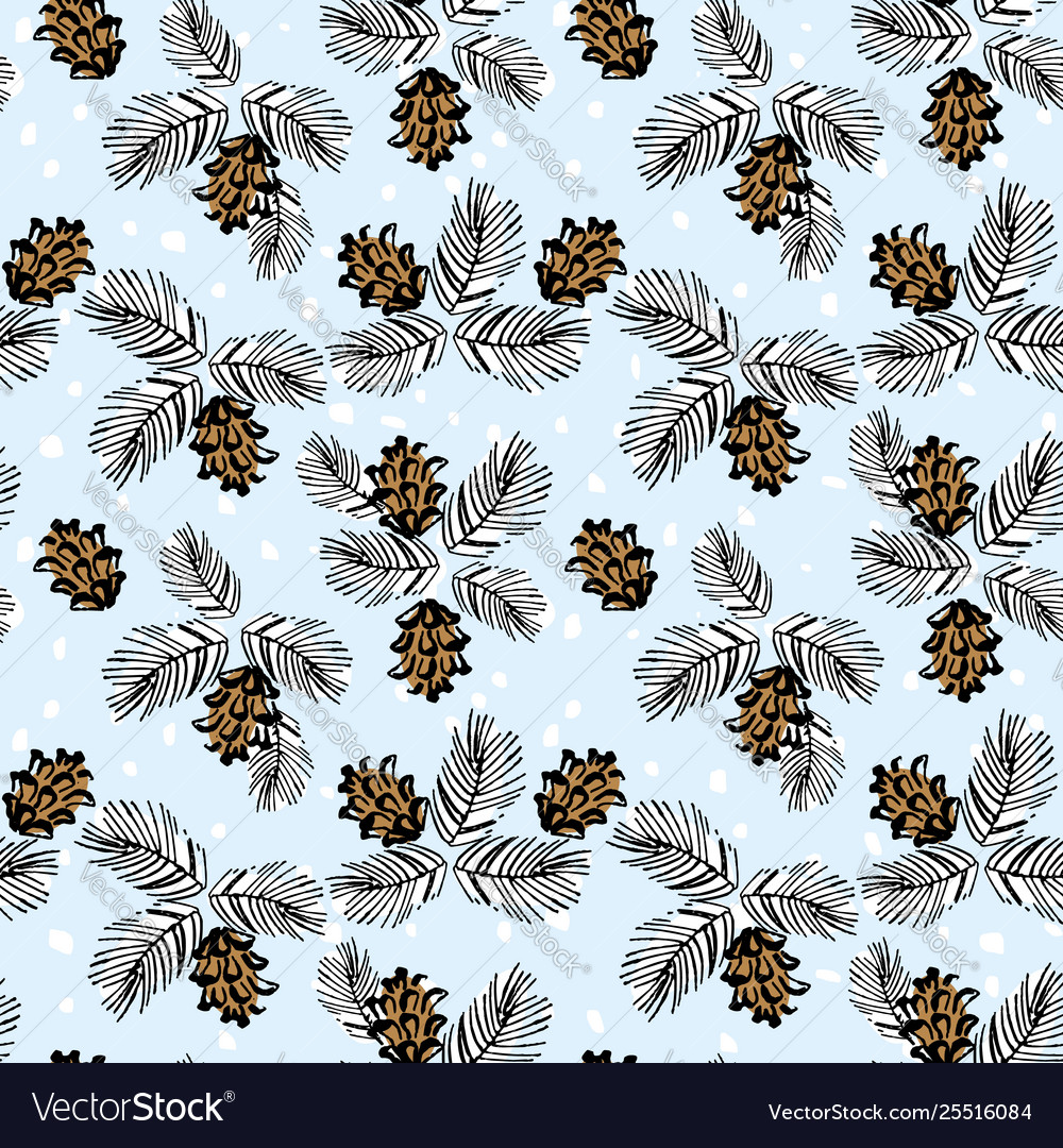 Cones and branches christmas seamless pattern