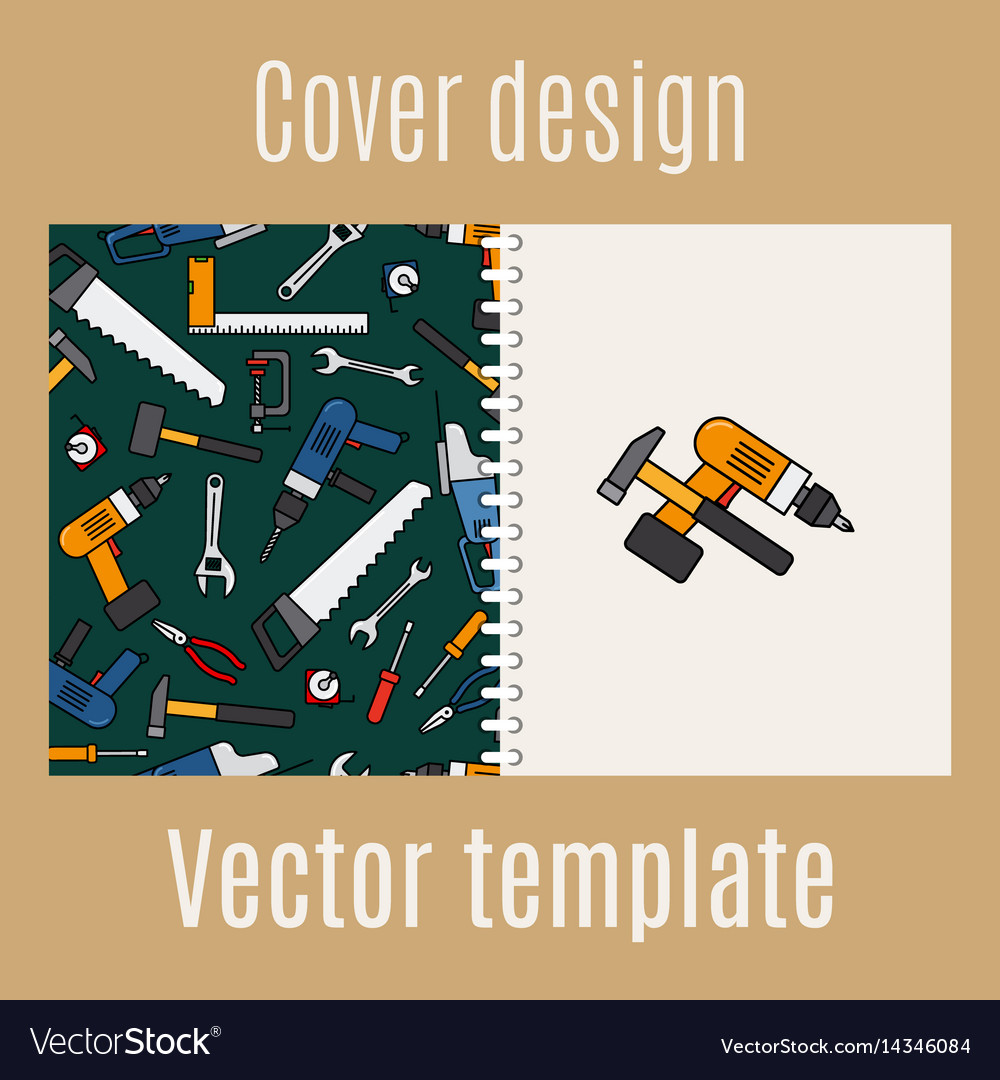Cover design with constraction tools pattern vector image