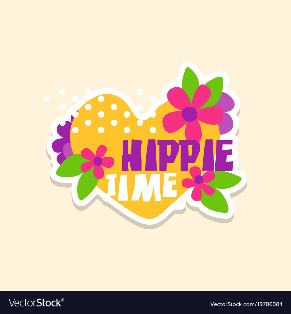 Creative text hippie time with heart and flowers vector image