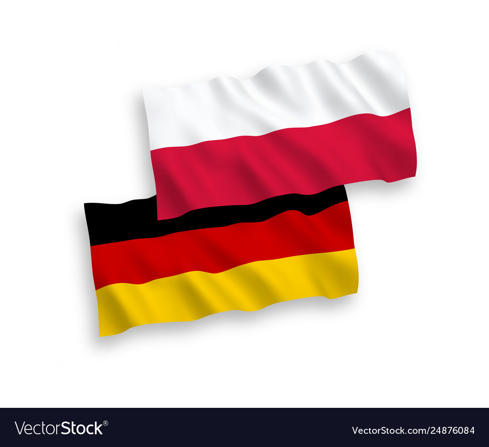 Flags poland and germany on a white background