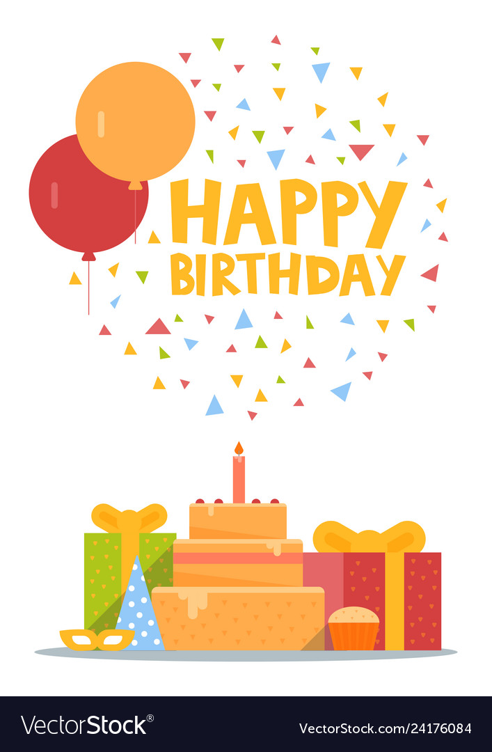 Happy birthday card design with balloons confetti