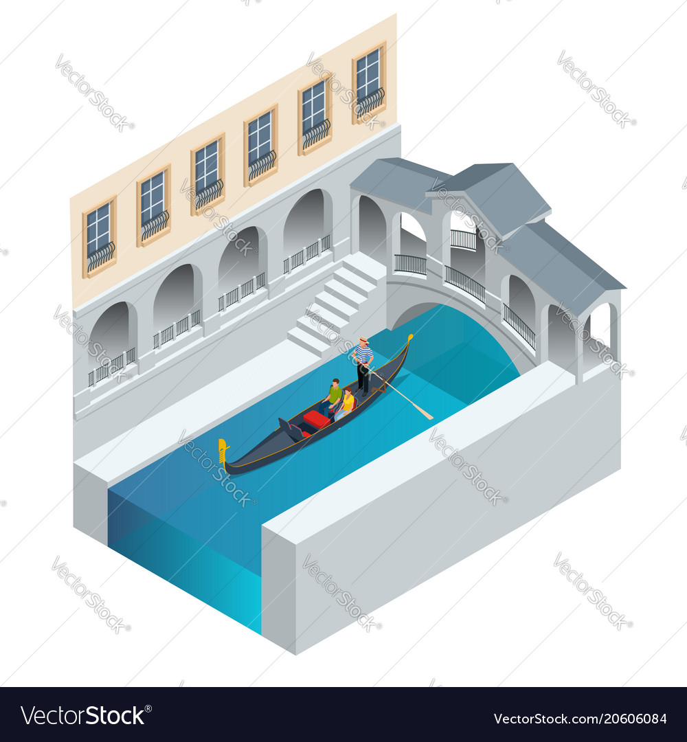 Isometric traditional gondola gondola with