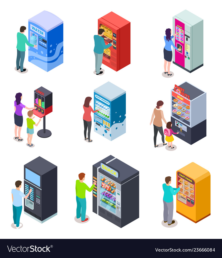 Isometric vending machine and people customers