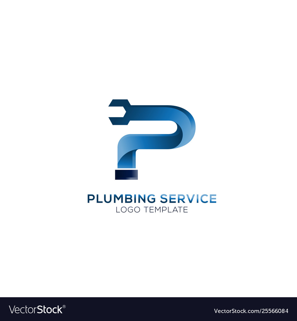 Letter p with wrench plumbing logo