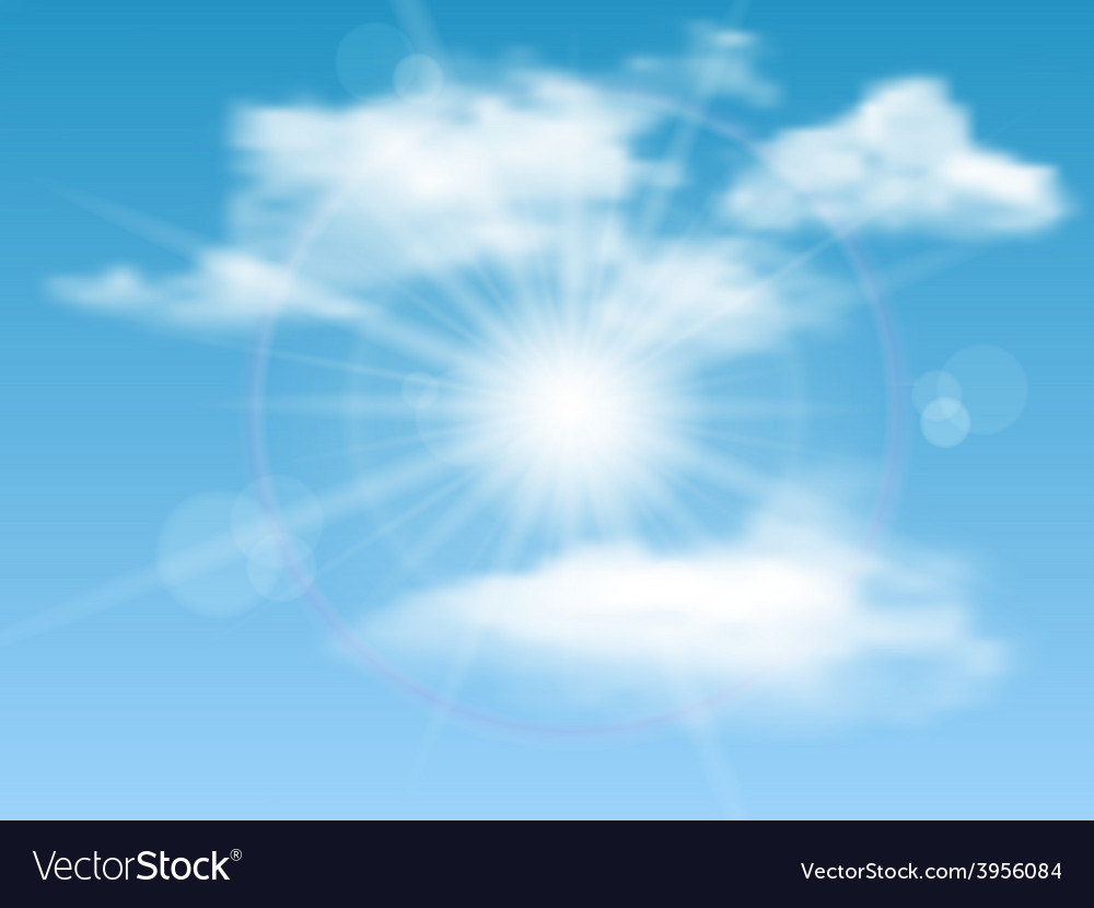 Nature background with sky sun and clouds