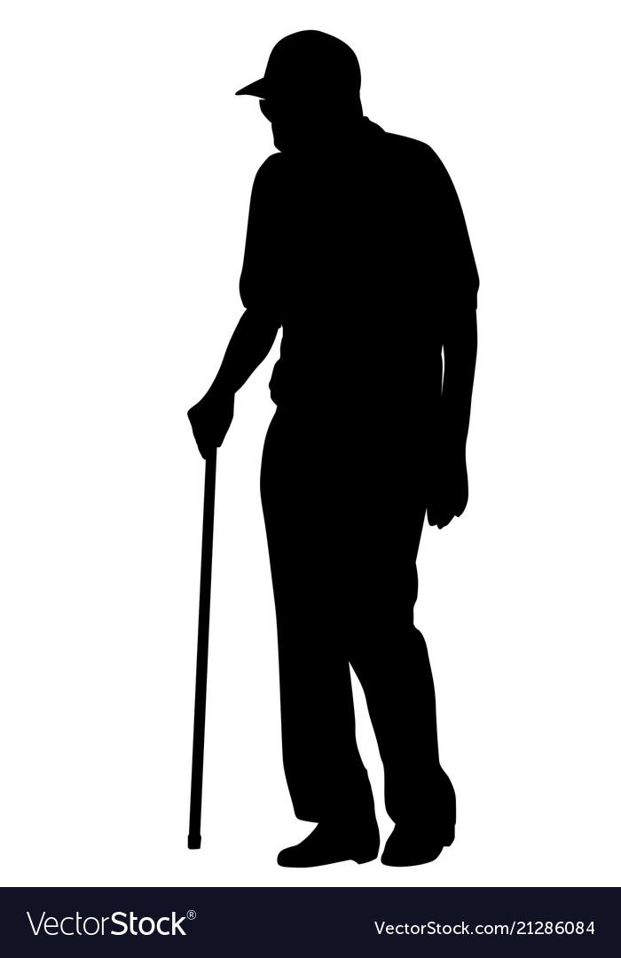 Old man silhouette on white