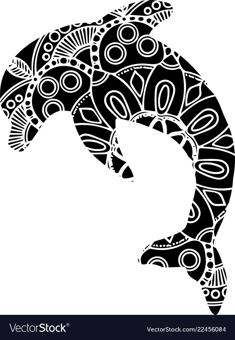 Ornamental decorative dolphin creative art icon
