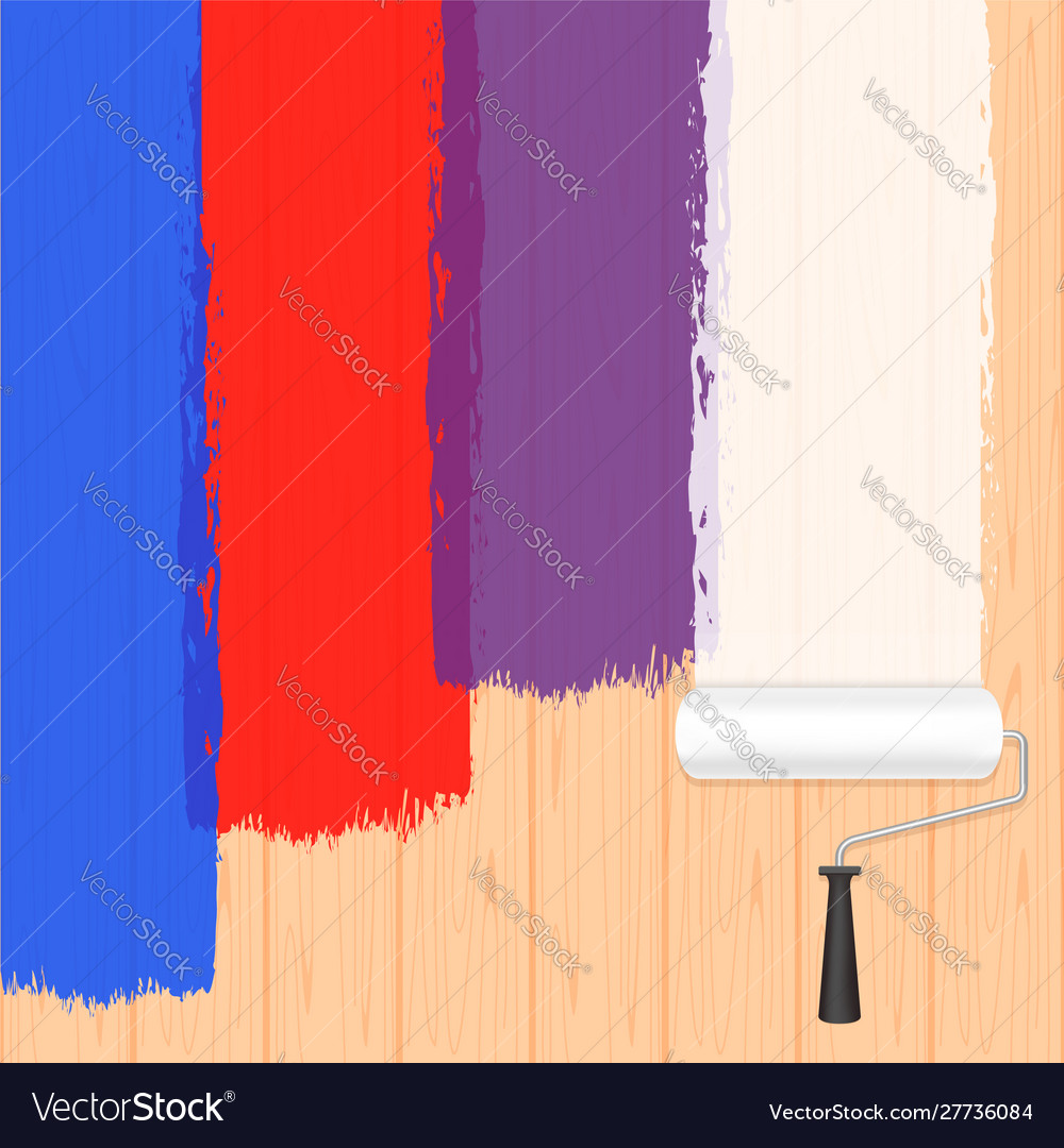 Paint roller colors on wooden wall for banner