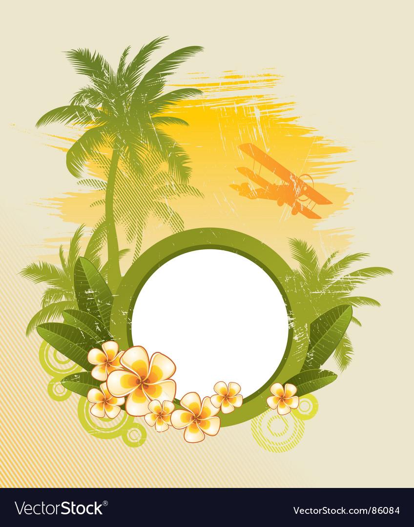 Round frame on tropical theme