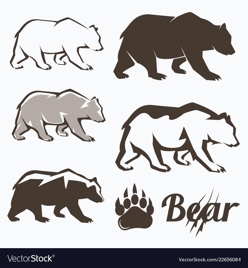 Set of walking bear silhouettes in different