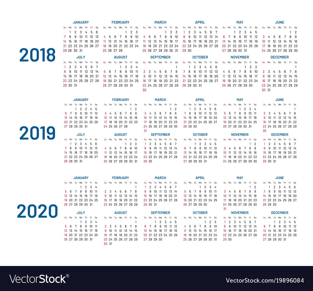 three years calendar 2018 2019 2020 isolated vector image