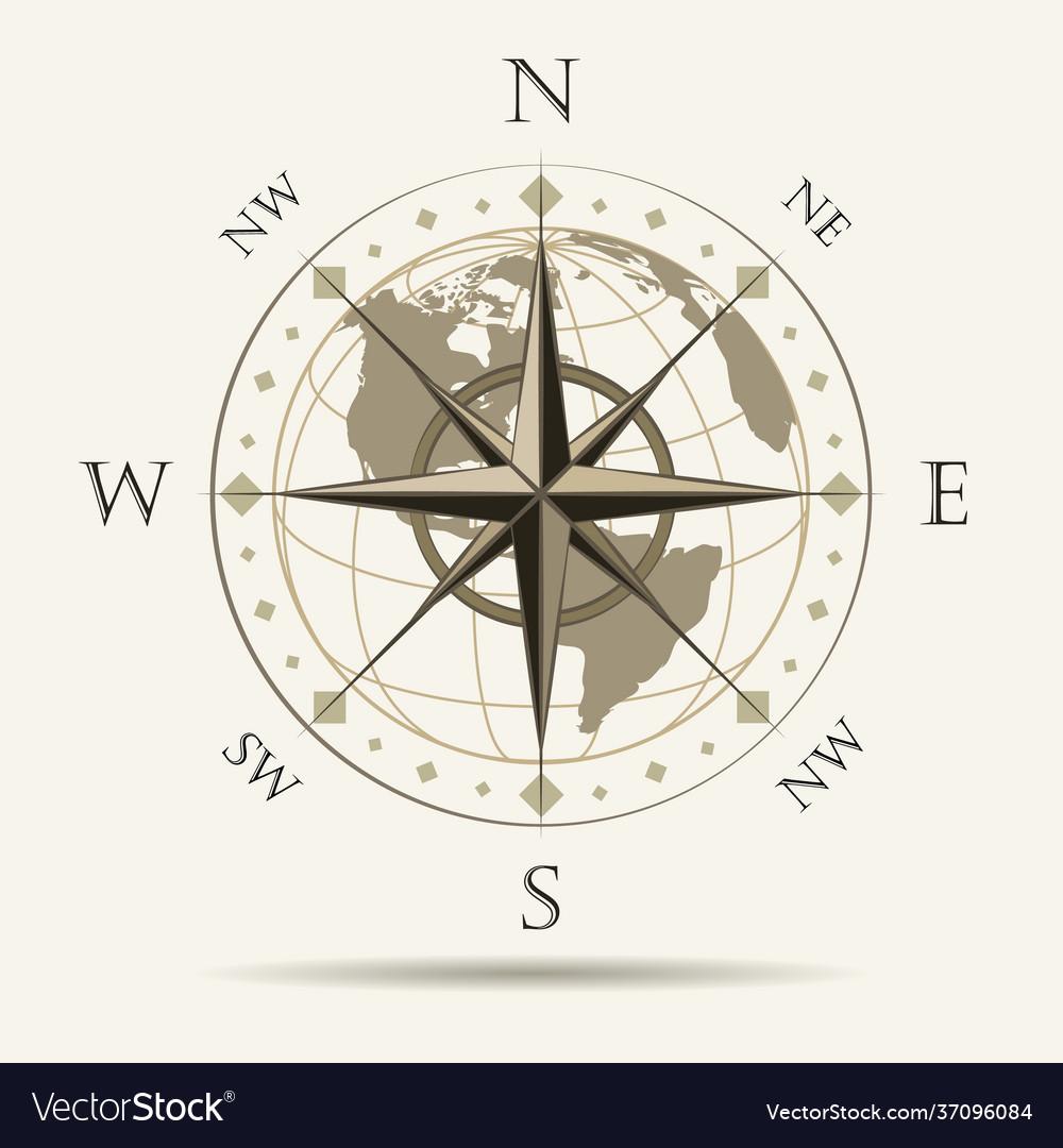 Wind rose navigation emblem