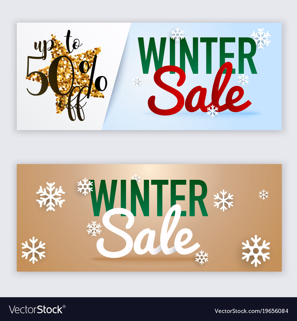 Winter sale website banners web template can be