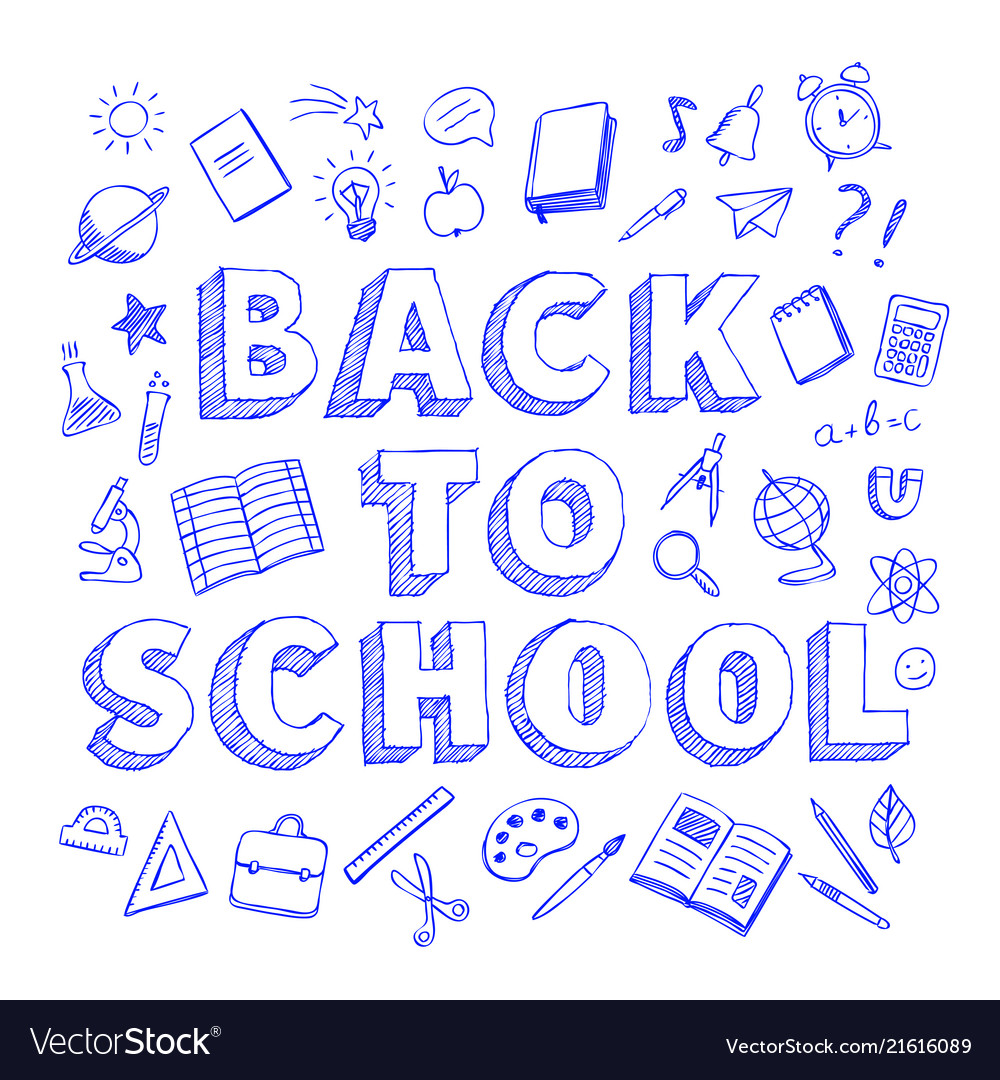 Back to school poster with blue pen doodles style