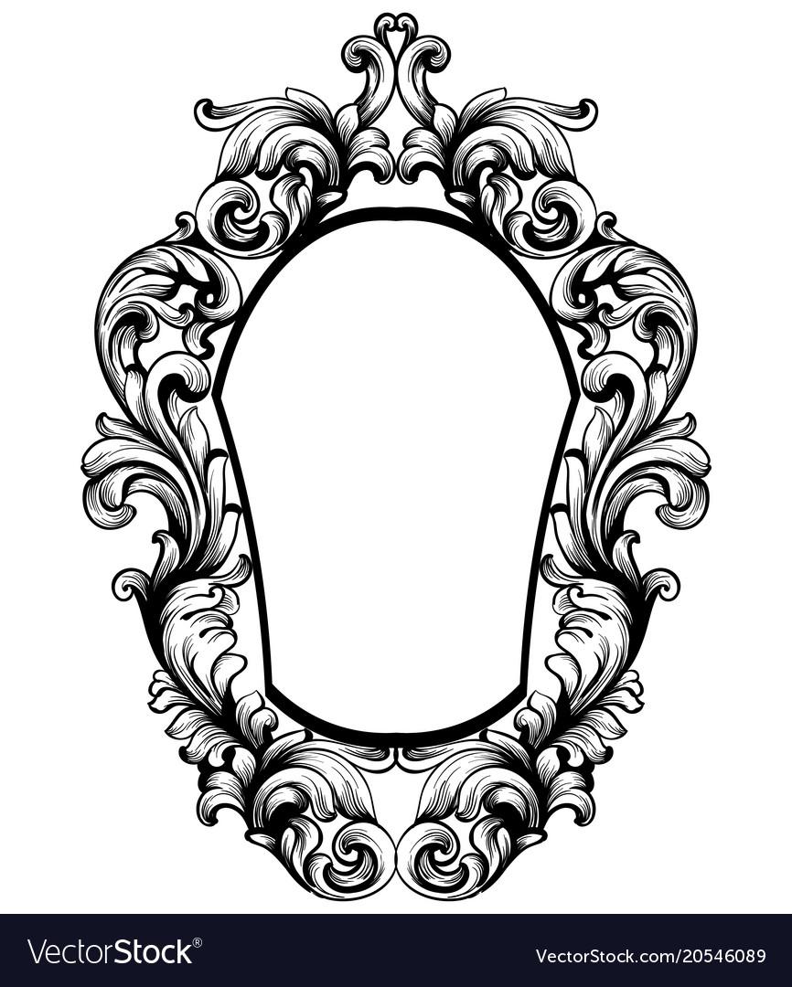 baroque mirror frame imperial decor design vector image