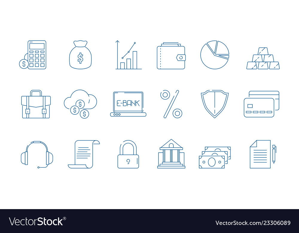 Business finance icons banking law global economy