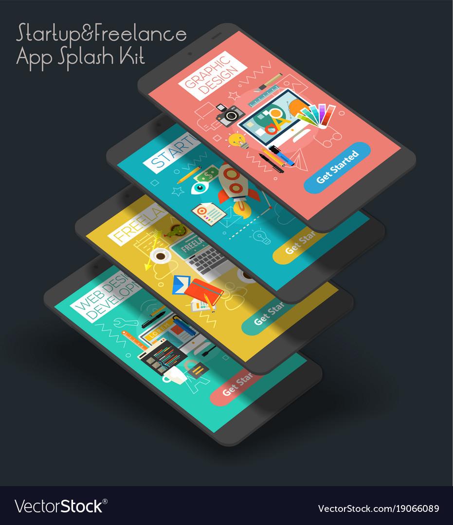 Flat design responsive ui mobile app with 3d