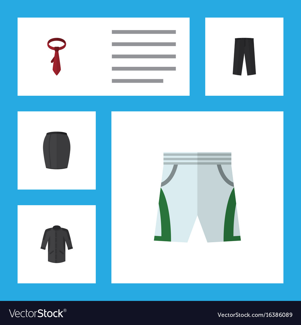 Flat icon garment set of trunks cloth uniform