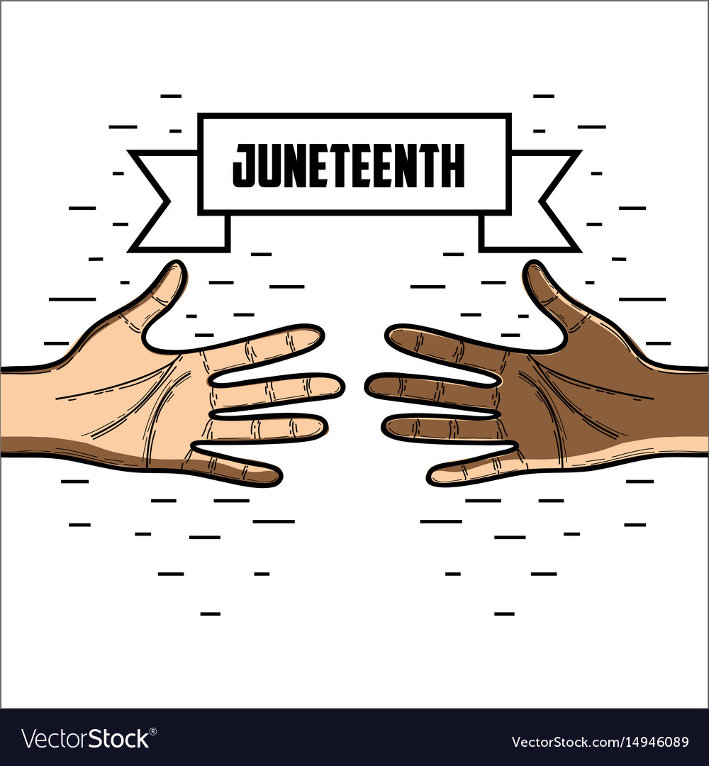Hands with ribbon massage to juneteenth celebrate