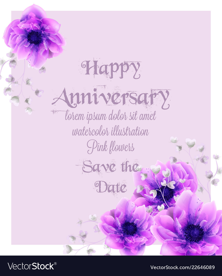 Happy anniversary card with pink flowers