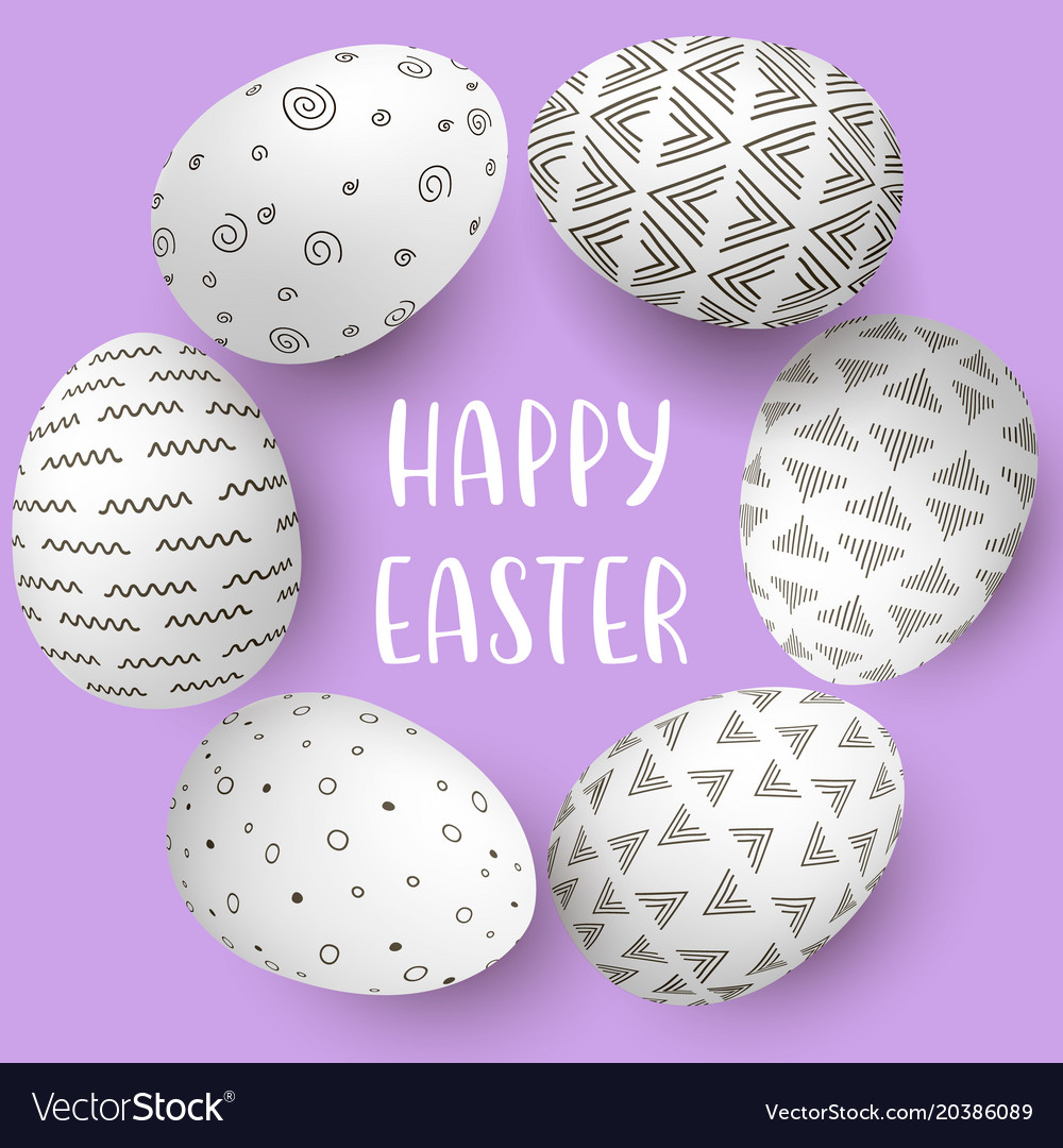 Happy easter eggs frame with text white eggs on