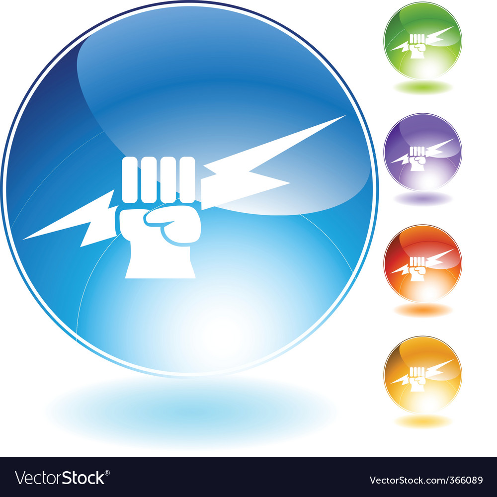 Lightning fist crystal icon vector