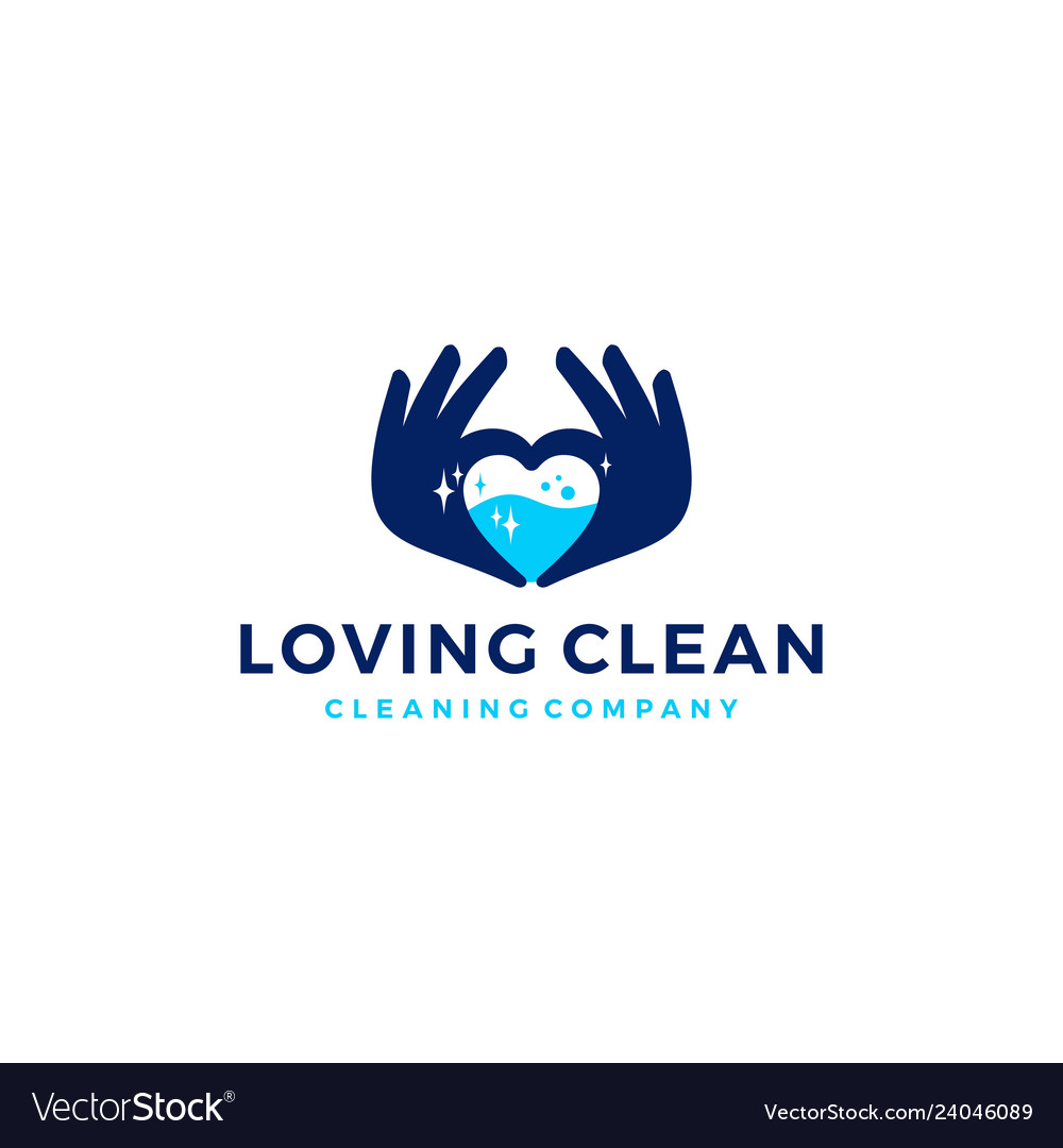 Love hand water clean cleaning logo icon
