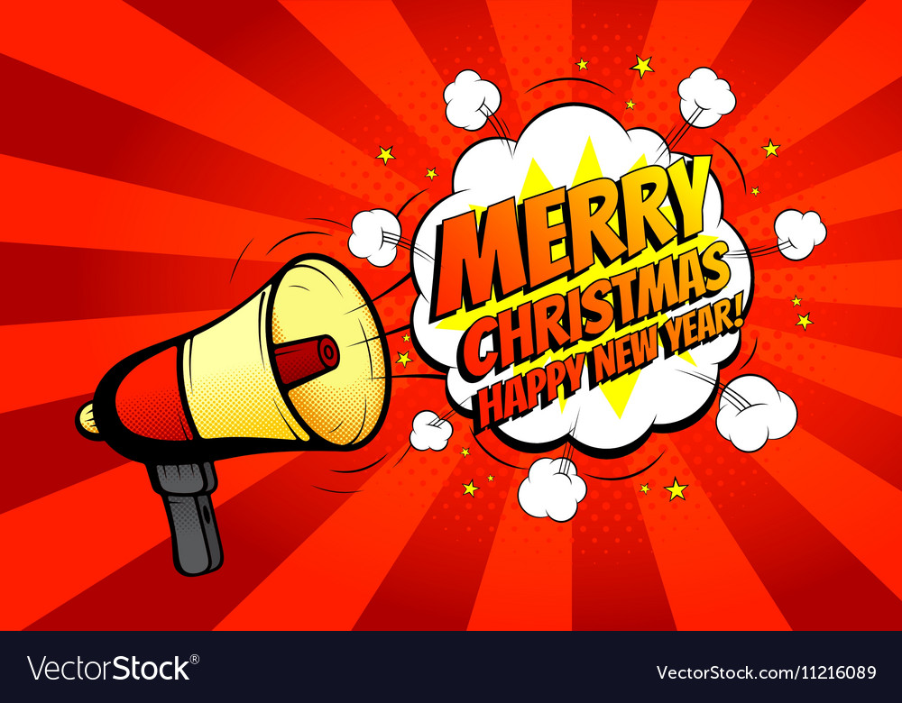 merry christmas banner with loudspeaker or vector image - Merry Christmas Banner