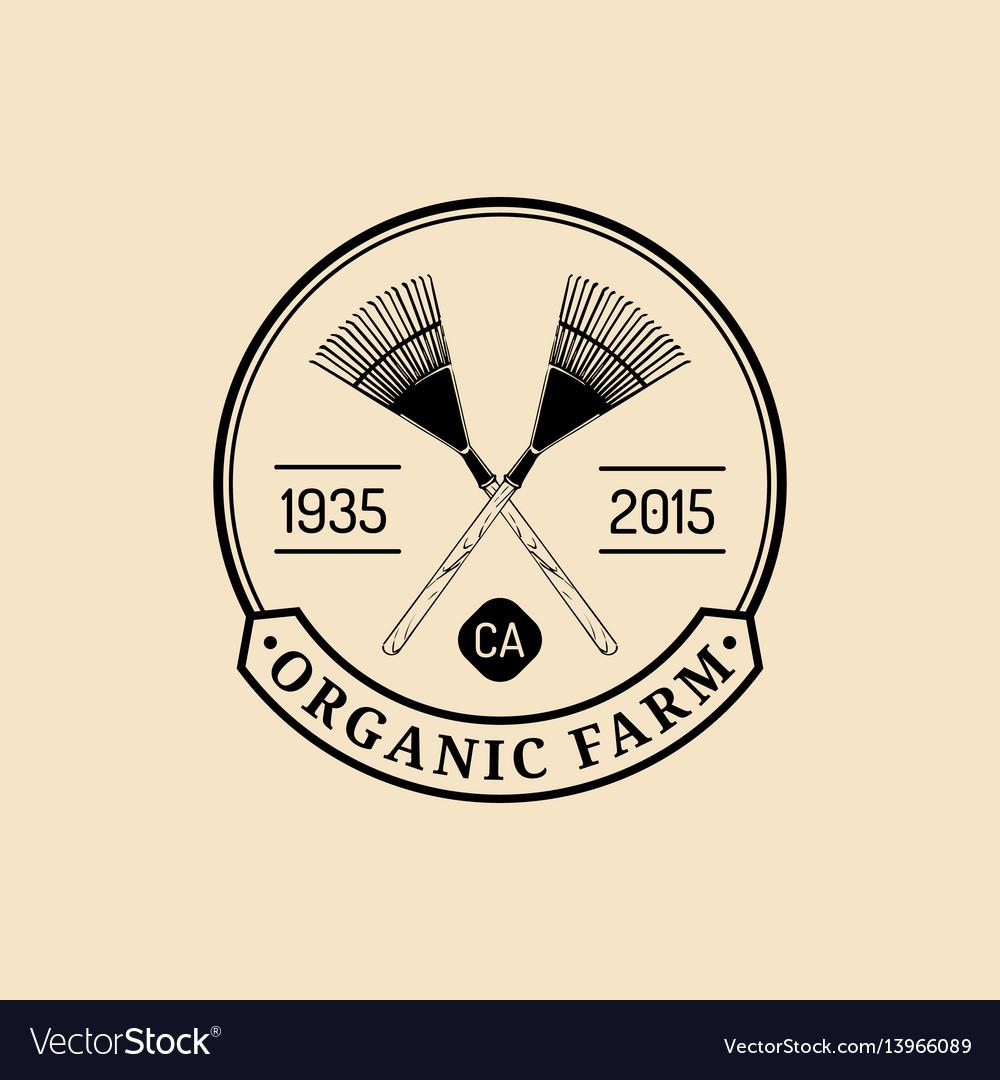 Retro farm fresh logotype organic quality