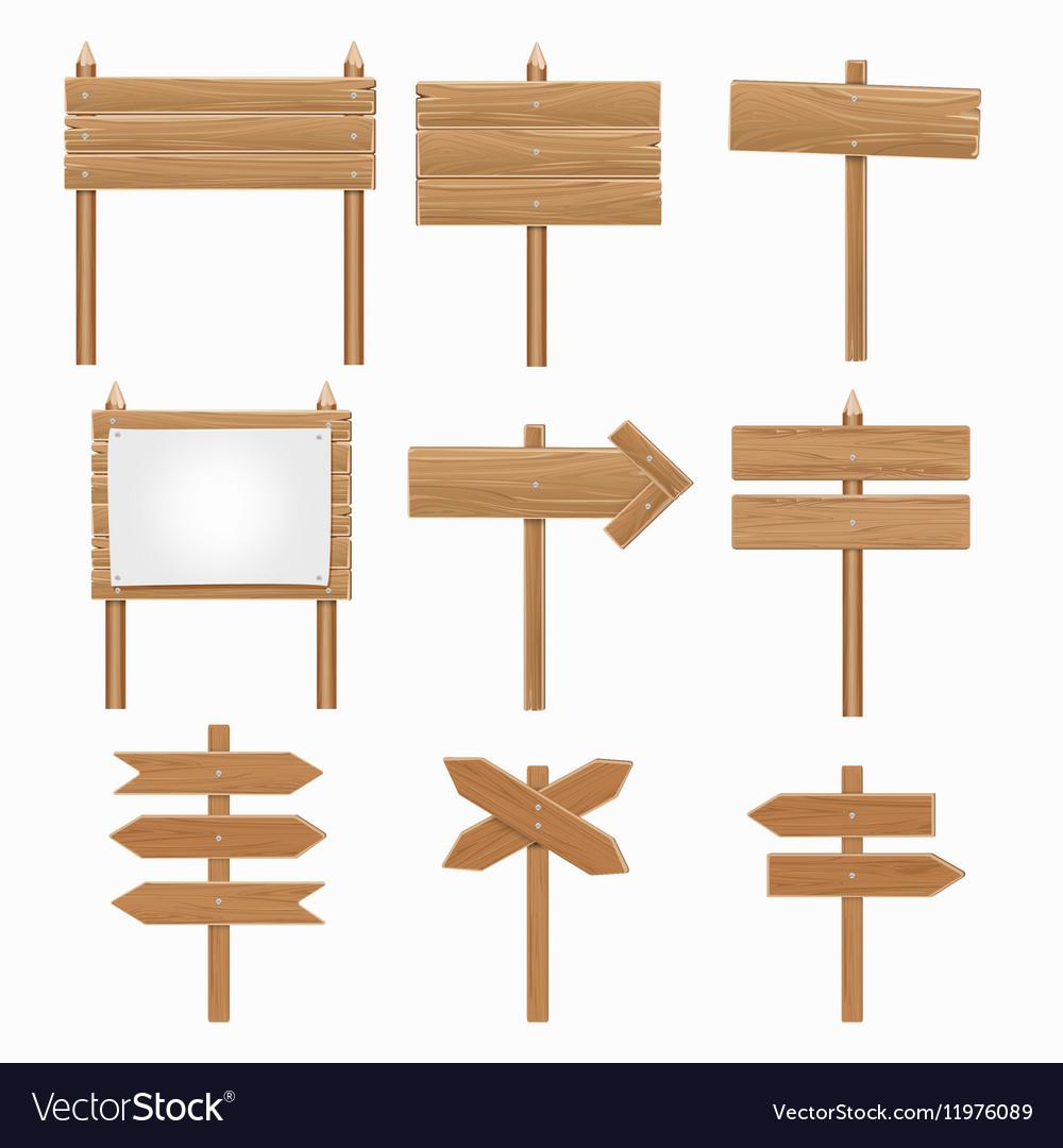 Wooden signboards wood arrow sign set
