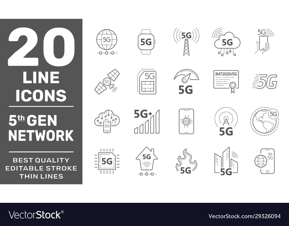 5g internet line icons set internet mobile safety