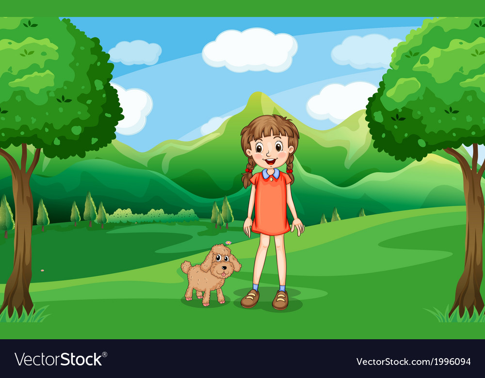 A young girl and her puppy at the hill vector image