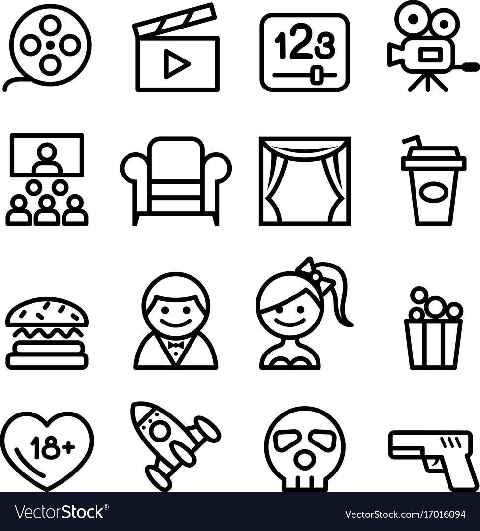 Basic movies icons set line icon
