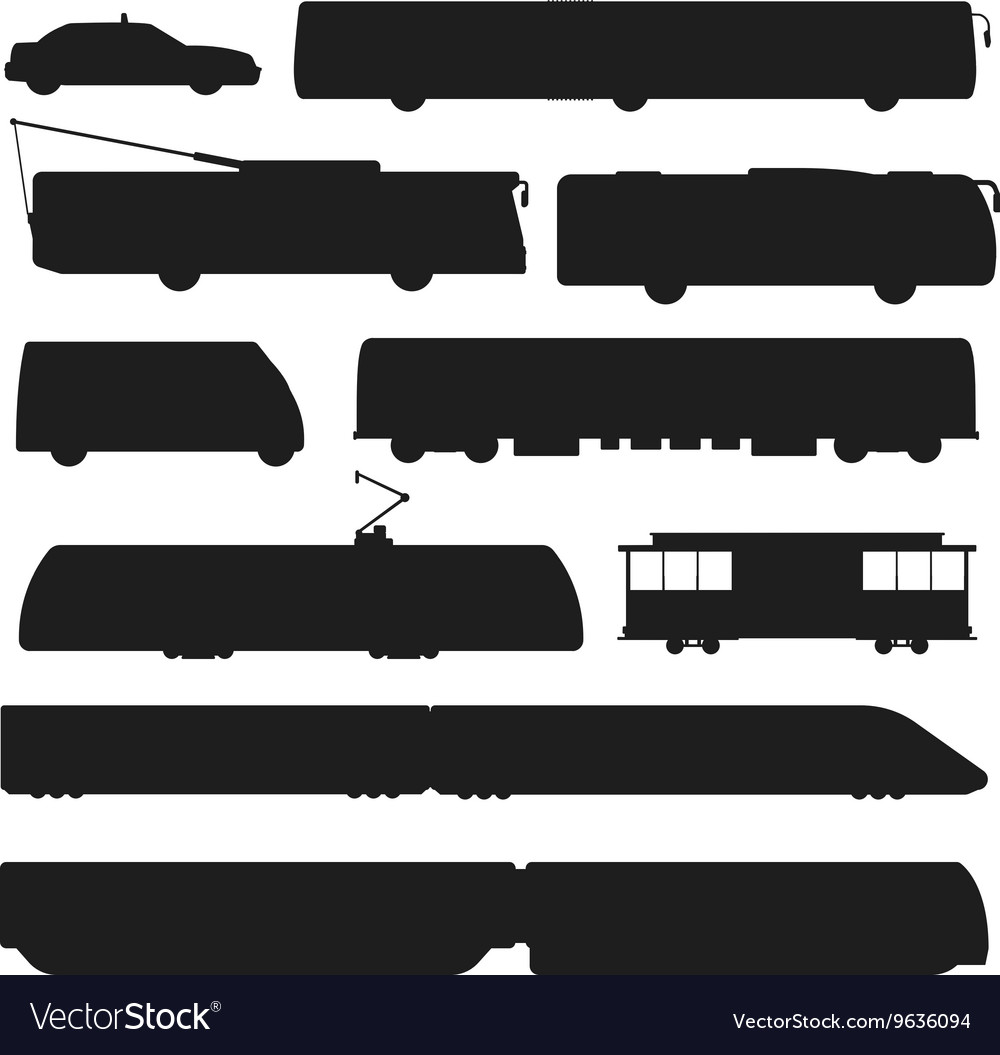 Black silhouette of trains