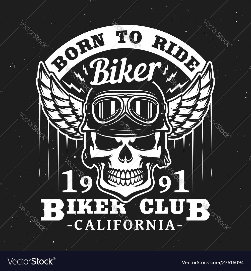 California biker club skull in helmet with wings