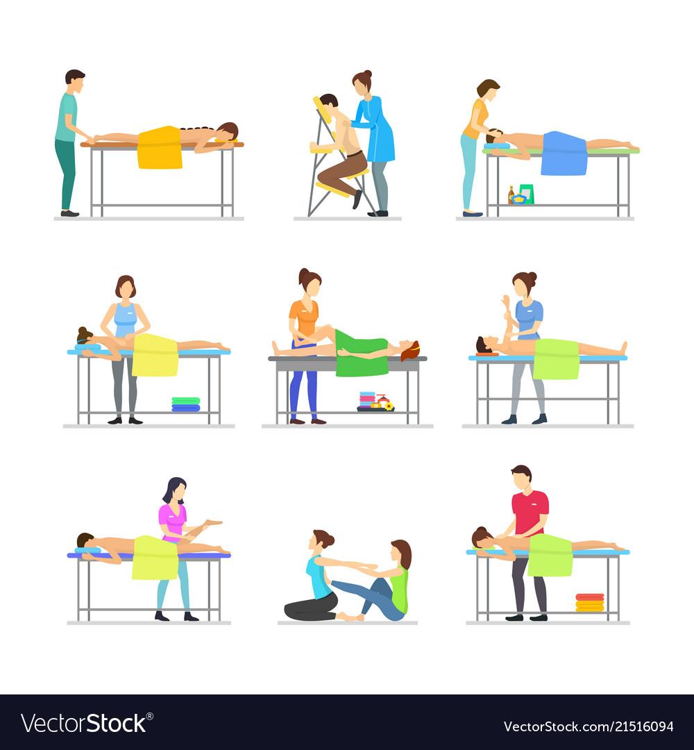 Cartoon characters people and massage procedure