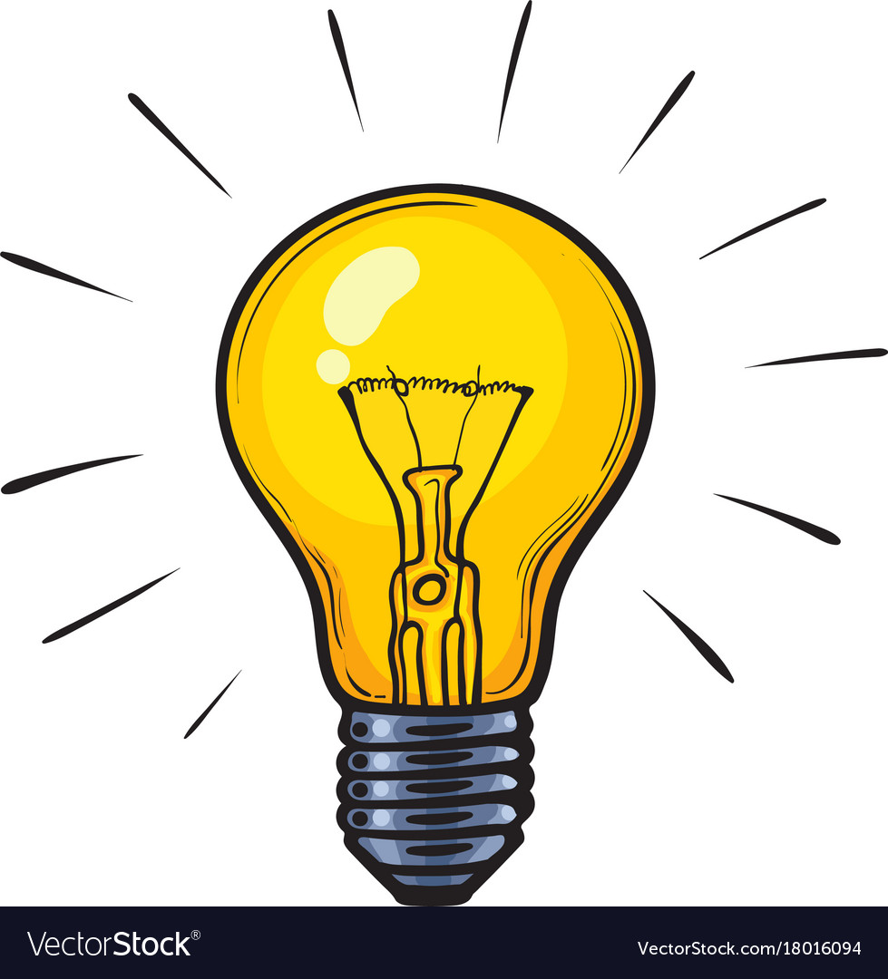 cartoon glowing yellow light bulb royalty free vector image rh vectorstock com light bulb vector art free lightbulb vector outline
