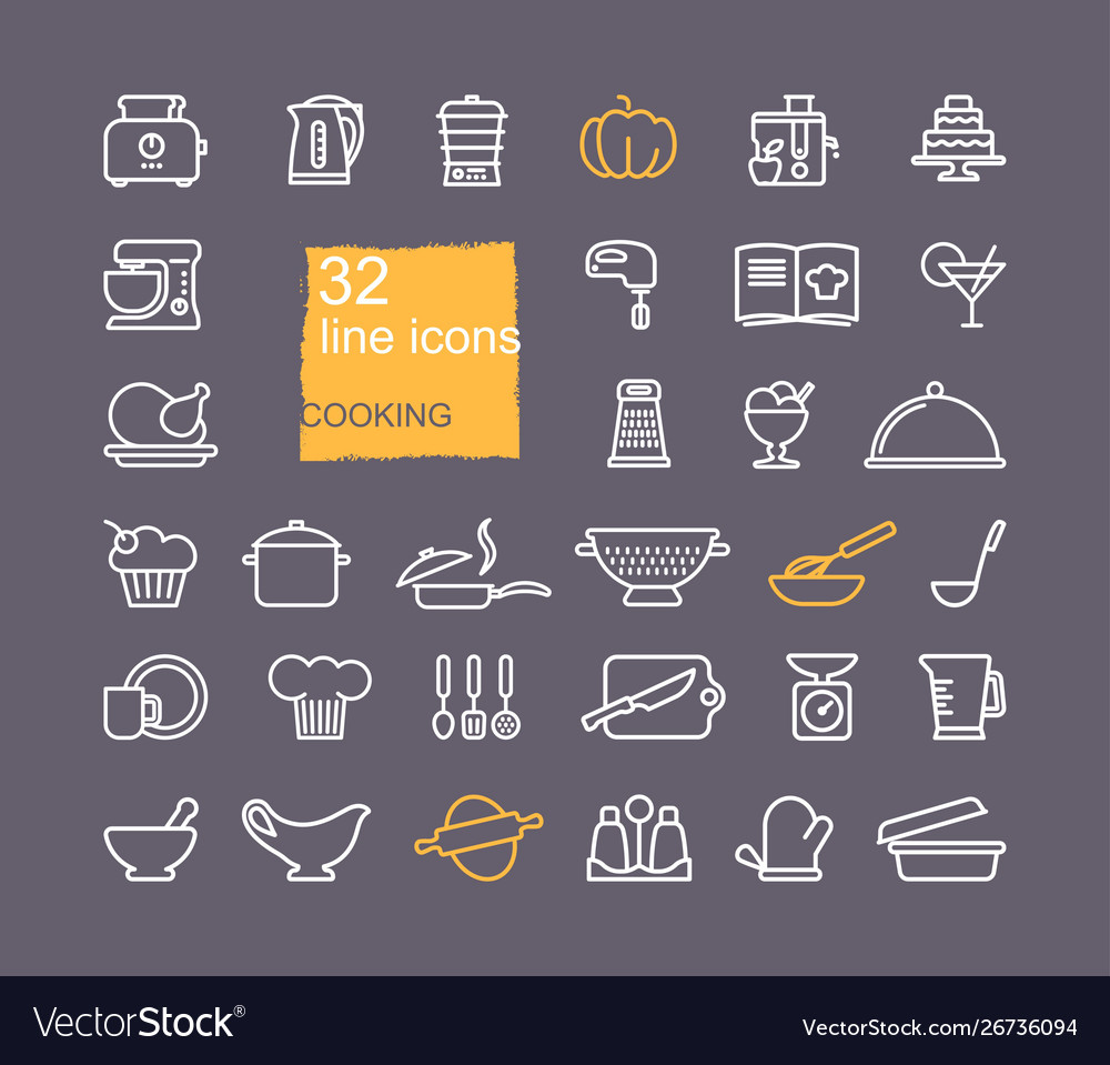 Cooking and kitchen icon set flat design thin