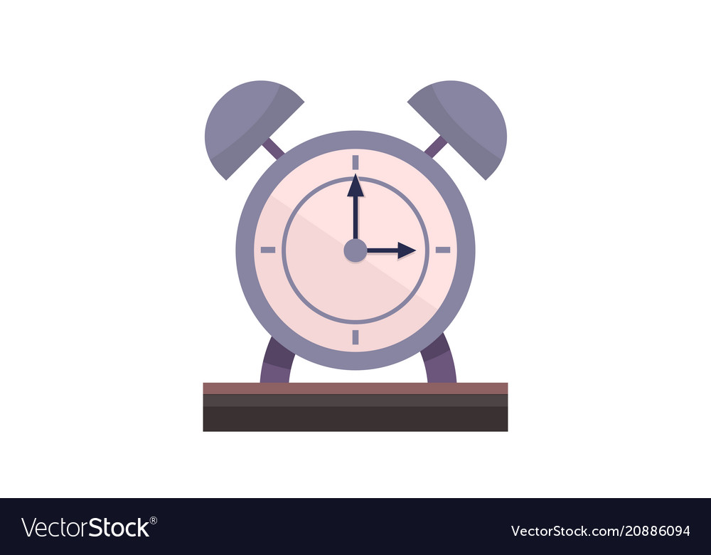 Flat alarm clock on table with isolated white