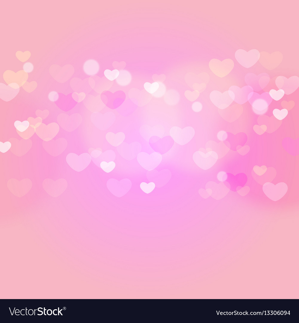 Hearts in sweet pink light