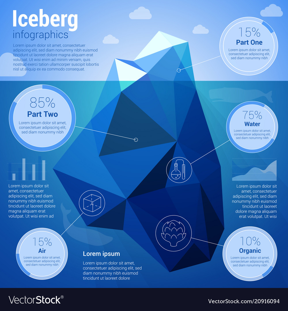 Iseberg low-polygonal infographics